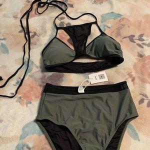 Edgy High waisted Army Green & Black Bikini